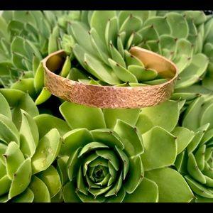 Hand stamped adjustable hammered copper bracelet